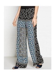 Anna Sui Checkerboard Roses Print Crepe Trouser Navy