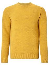 John Lewis And Co. Moss Stitch Crew Neck Jumper Gold
