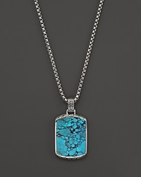 John Hardy Men's Sterling Silver Batu Classic Chain Large Dog Tag Pendant Necklace With Turquoise 26 Black Turquoise