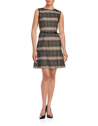 Jessica Simpson Belted Sleeveless Lace A Line Dress Black Pink