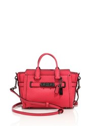 Coach Pebbled Leather Satchel Pink