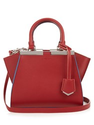 Fendi 3Jours Contrast Trim Leather Cross Body Bag Red Multi