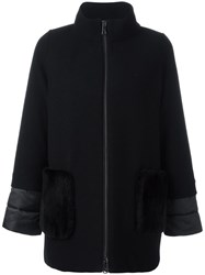 Fay High Neck Zipped Coat Black