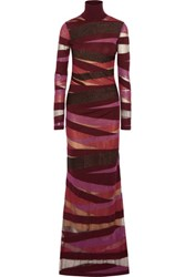 Emilio Pucci Striped Metallic Stretch Knit Gown Burgundy