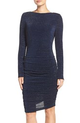 Vince Camuto Women's Ruched Metallic Knit Body Con Dress Navy