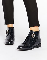 Asos After All Leather Brogue Ankle Boots Navy