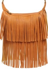 Bp Tiered Fringe Faux Leather Crossbody Bag Brown