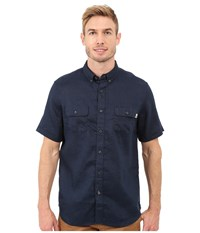 Timberland Warner River Linen Shirt Dark Sapphire Men's Clothing Blue