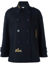 Red Valentino Embroidered Double Breasted Jacket Blue