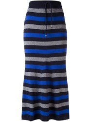 Twin Set Striped Maxi Skirt Blue