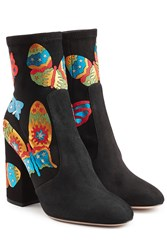 Valentino Suede Ankle Boots With Butterflies Multicolor