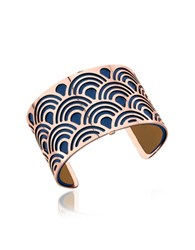 Les Georgettes Poisson Rose Gold Plated Bracelet W Navy Blue And Beige Reversible Leather Strap