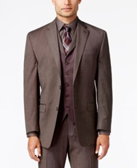 Sean John Men's Classic Fit Brown Pindot Suit Jacket