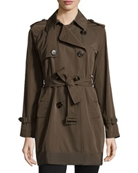 Moncler Delmas Pleated Trench Coat Olive