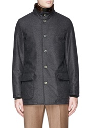 Isaia Beaver Fur Collar Wool Aqua Flannel Caban Jacket Grey