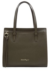 Salvatore Ferragamo Amy Leather Tote Green