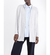 Allude Open Front Wool And Cashmere Blend Cardigan 81 Grey