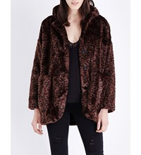 The Kooples Leopard Print Faux Fur Coat Leopard Chocolat
