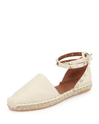 Valentino Rockstud Double Ankle Wrap Flat Espadrille Ivory