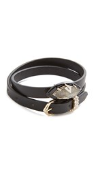 Alexis Bittar Enamel Framed Wrap Bracelet And Choker Black Metallic