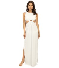 Michael Kors Draped Solids Open Back Cover Up Dress White Women's Swimwear