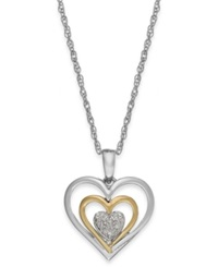 Macy's Diamond Accent Heart Pendant Necklace In 14K Gold And Sterling Silver