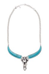 Eye Candy Los Angeles Teal Bull Necklace Metallic