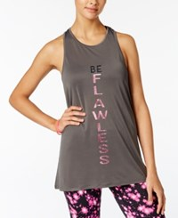 Material Girl Active Juniors' Graphic Tank Top Only At Macy's Heather Platinum