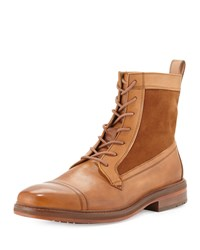 Ben Sherman Lincoln Leather Cap Toe Boot Tan Cognac Tan Red