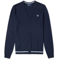 Fred Perry Tipped Merino Cardigan Blue