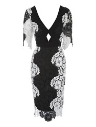 Jane Norman Mono Lace Midi Dress Black White