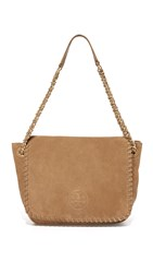 Tory Burch Marion Suede Small Flap Shoulder Bag River Rock