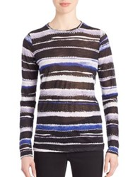 Proenza Schouler Long Sleeve Printed Cotton Jersey Tissue Tee Blue Cobalt Poppy Maroon