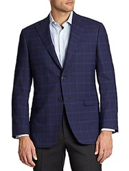 Saks Fifth Avenue Samuelsohn Two Button Check Sportcoat Blue