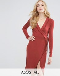 Asos Tall Wrap Dress In Rib With Frill Detail Rust Orange