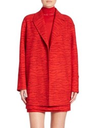 Akris Garance Double Face Wool Tiger Print Coat Red