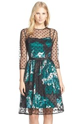 Women's Eliza J Belted Polka Dot Mesh Overlay Fit And Flare Dress