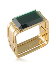 Trina Turk Cabaret Emerald Cut Stone Goldtone Brass Rectangle Cuff Bracelet Green