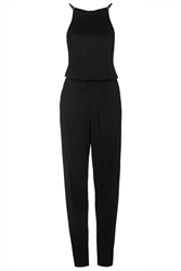 Topshop High Neck Jersey Jumpsuit Black