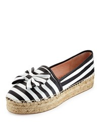 Linds Striped Bow Espadrille Flat Black White Kate Spade New York