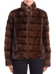 Michael Kors Horizontal Mink Fur Jacket Brown