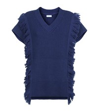 Escada Sport Chunky Knit Fringe Sweater Female Blue