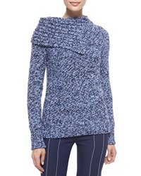 Derek Lam Cashmere Folded Collar Sweater Navy Blue