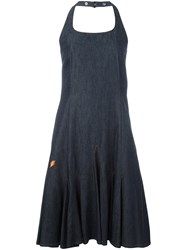 Walter Van Beirendonck Vintage Halter Denim Dress Blue