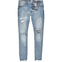 River Island Mens Light Blue Wash Ripped Sid Skinny Jeans