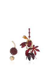 Marni Asymmetrical Earrings With Horn In Red
