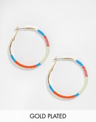 Ny Lon Nylon Gold Plated Hoop Earrings With Thread Detail Gold