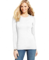 Style And Co. Basic Long Sleeve Tee Bright White