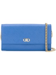 Salvatore Ferragamo Gancio Flap Chain Wallet Blue