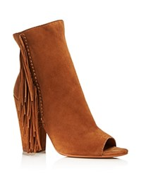 Dolce Vita Mazarine Fringe Open Toe High Heel Booties Dark Saddle